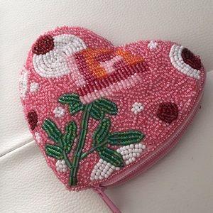 Heat shape rose 🌹 glass beaded zip mini pouch